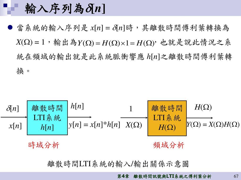 輸入序列為[n] 當系統的輸入序列是 x[n] = [n]時,其離散時間傅利葉轉換為X() = 1,輸出為 ,也就是說此情況之系統在頻域的輸出就是此系統脈衝響應 h[n]之離散時間傅利葉轉換。